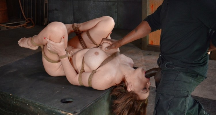 Krissy Lynn sucks on a BBC while bound