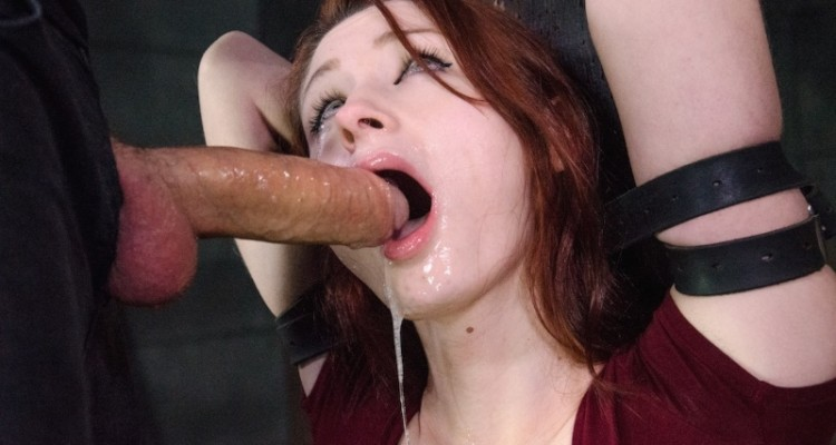 Violet Monroe drools from an intense blowjob