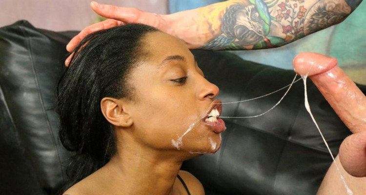 Sharee gets her big mouth fucked by white cock