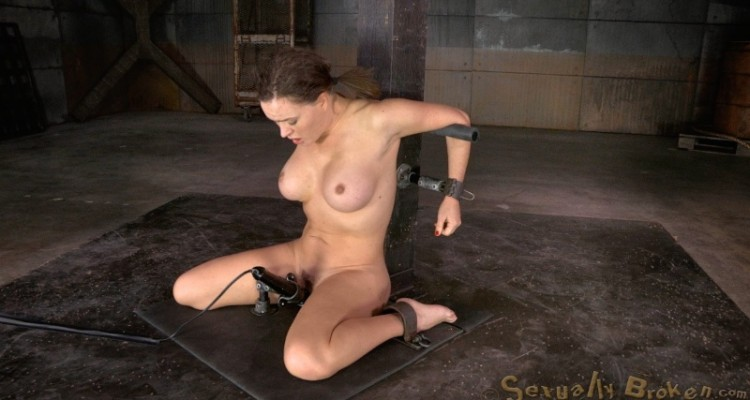 Krissy Lynn is restrained with a vibrator between her legs